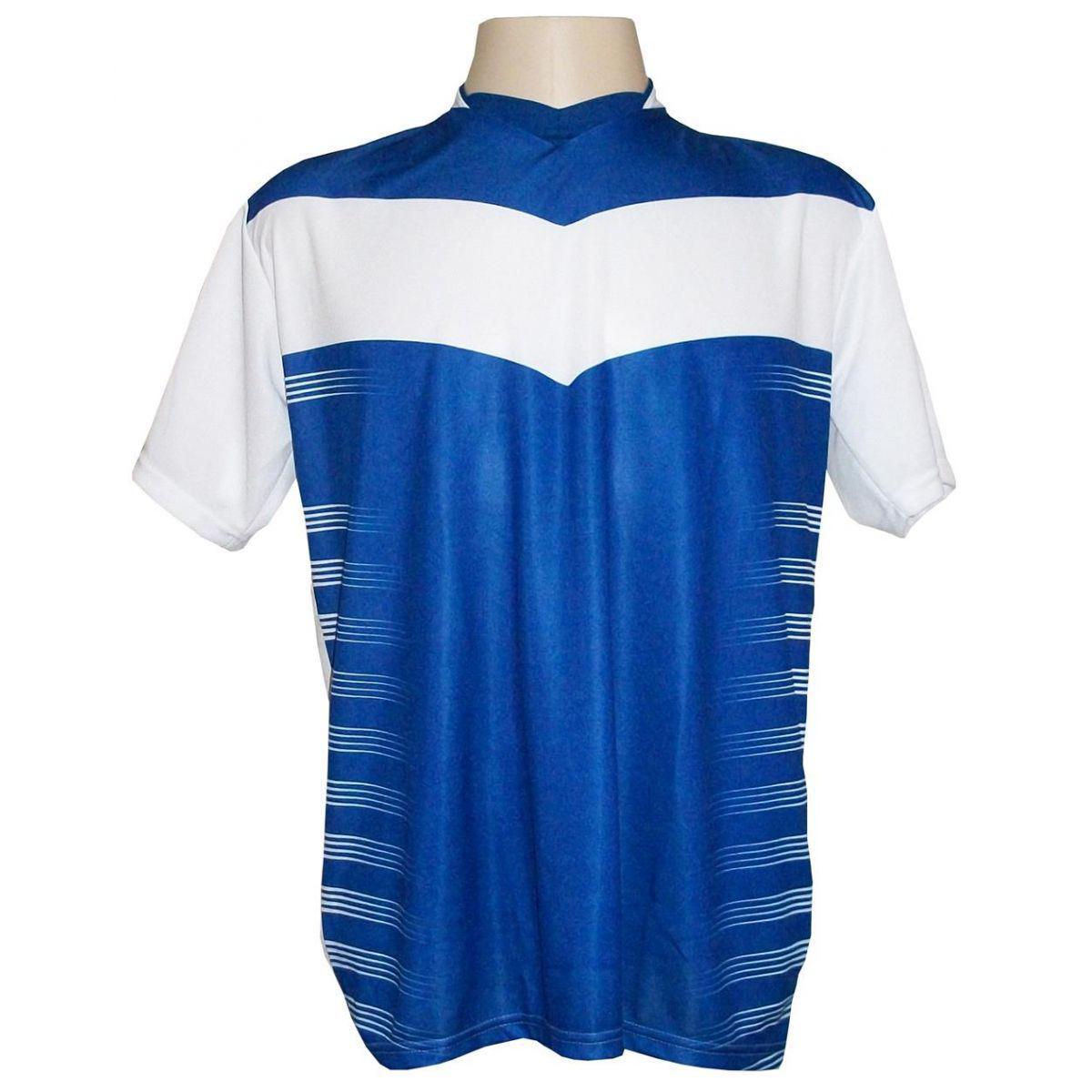Uniforme Esportivo com 12 camisas modelo Dubai Branco Royal + 12 calções  modelo Madrid + 1 Goleiro + Brindes - Kanga sport R  569 5c1de23bcf08a