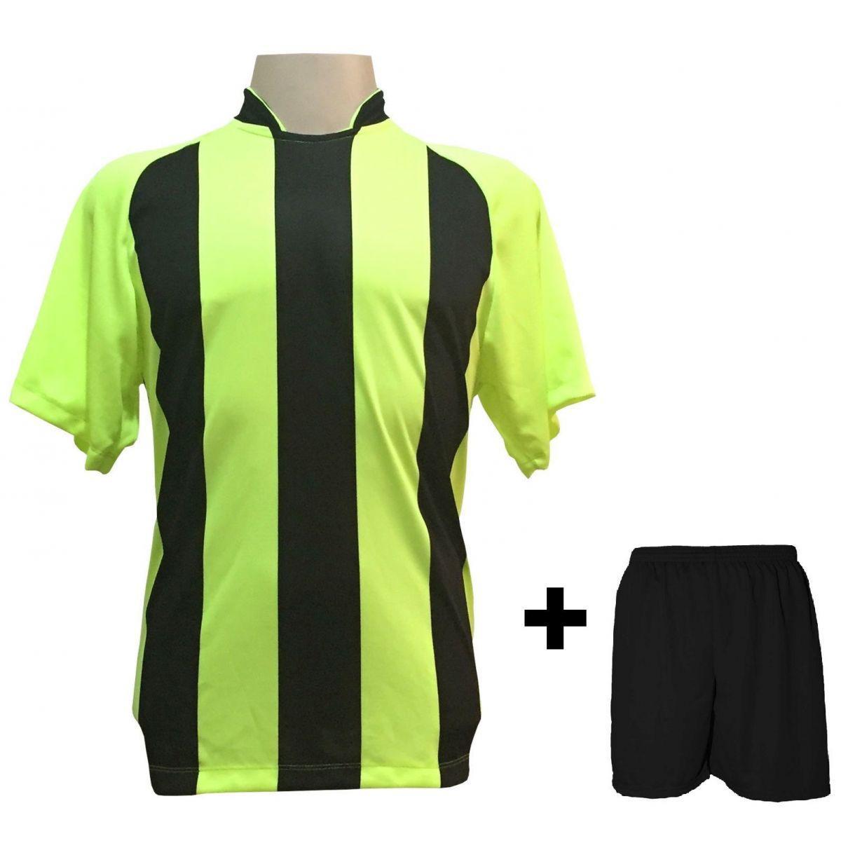 4854702e69 Uniforme Esportivo com 12 camisas modelo Milan Limão Preto + 12 calções  modelo Madrid + 1 Goleiro + Brindes - Play fair - Futebol - Magazine Luiza