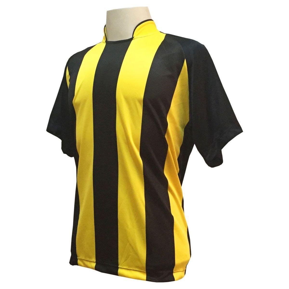 Uniforme Esportivo com 12 camisas modelo Milan Preto Amarelo + 12 calções  modelo Copa + 1 Goleiro + Brindes - Play fair - Futebol - Magazine Luiza 239ad6378bd33