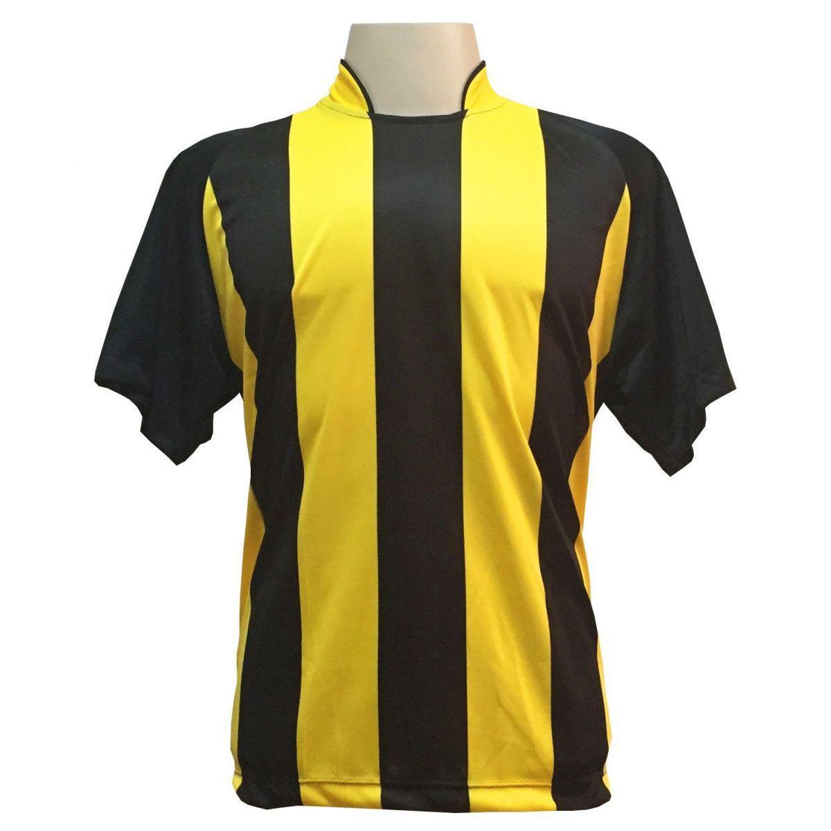 Uniforme Esportivo com 12 camisas modelo Milan Preto Amarelo + 12 calções  modelo Copa + 1 Goleiro + Brindes - Play fair - Futebol - Magazine Luiza 7b3c65e21337a