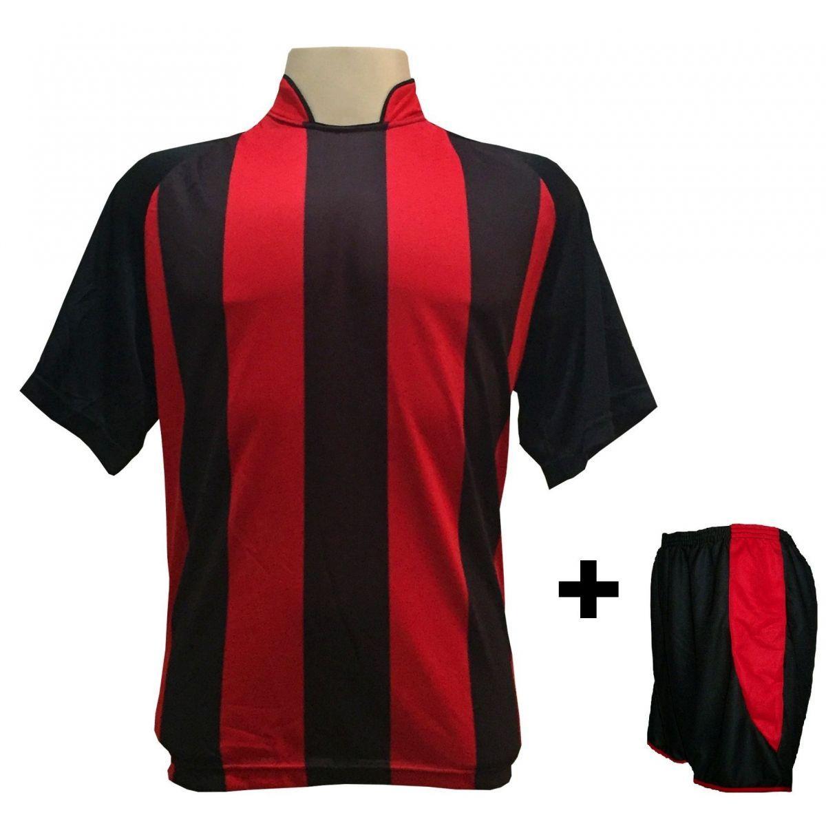 Uniforme Esportivo com 12 camisas modelo Milan Preto Vermelho + 12 calções  modelo Copa Preto Vermelho + Brindes - Play fair - Futebol - Magazine Luiza 7e249301ac19e