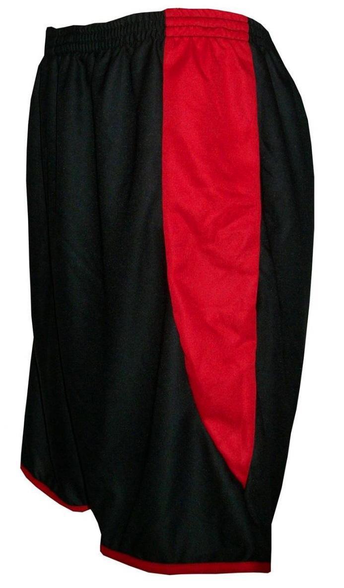 Uniforme Esportivo com 12 Camisas modelo Milan Preto Vermelho + 12 Calções  modelo Copa Preto Vermelho - Play fair R  519 ec473ff788f0d