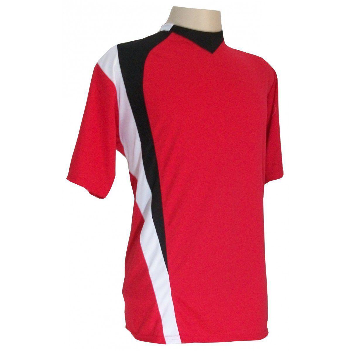 c64d76a472 Uniforme Esportivo com 14 camisas modelo PSG Vermelho Preto Branco + 14  calções modelo Madrid + 1 Goleiro + Brindes - Gazza R  599