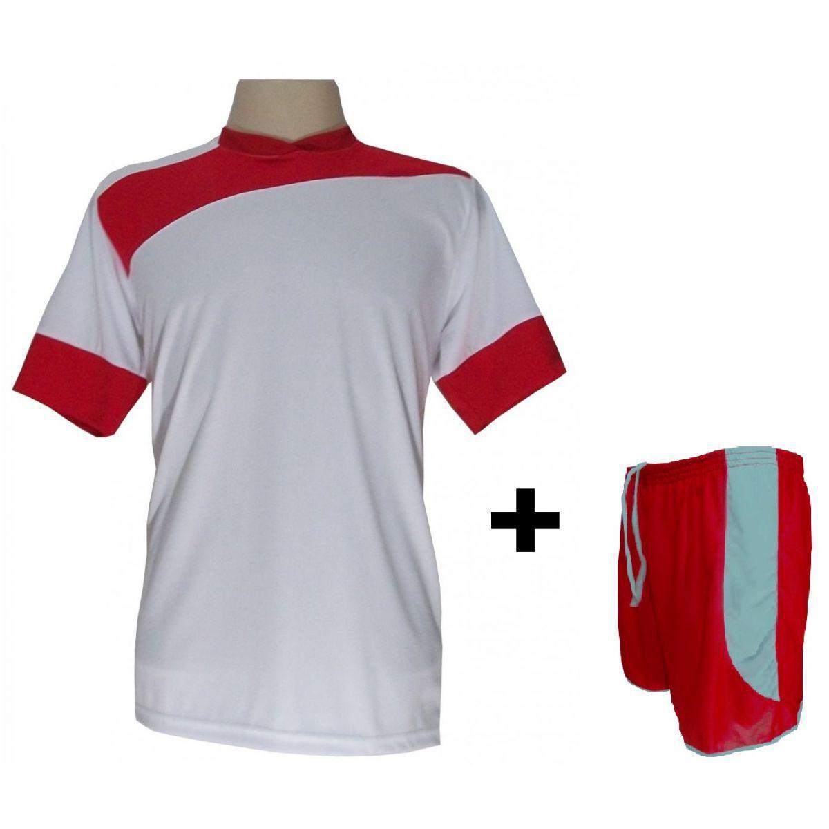 79929de00b Uniforme Esportivo com 14 camisas modelo Sporting Branco Vermelho + 14  calções modelo Copa + 1 Goleiro + Brindes - Gazza - Futebol - Magazine Luiza