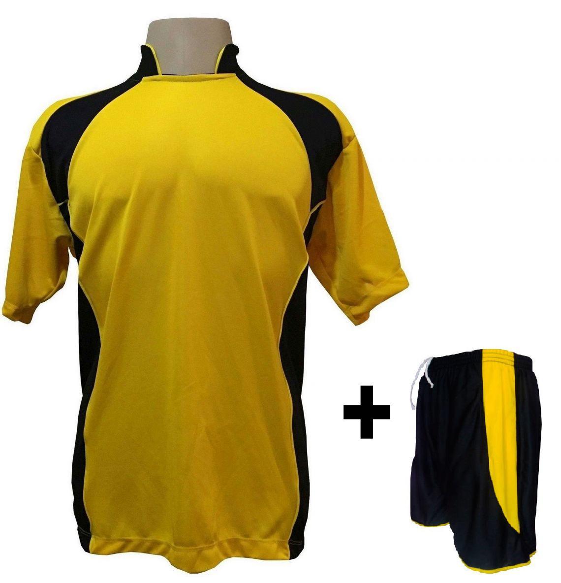 dcb68ba7bf Uniforme Esportivo com 14 camisas modelo Suécia Amarelo Preto + 14 calções  modelo Copa + 1 Goleiro + Brindes - Play fair - Futebol - Magazine Luiza