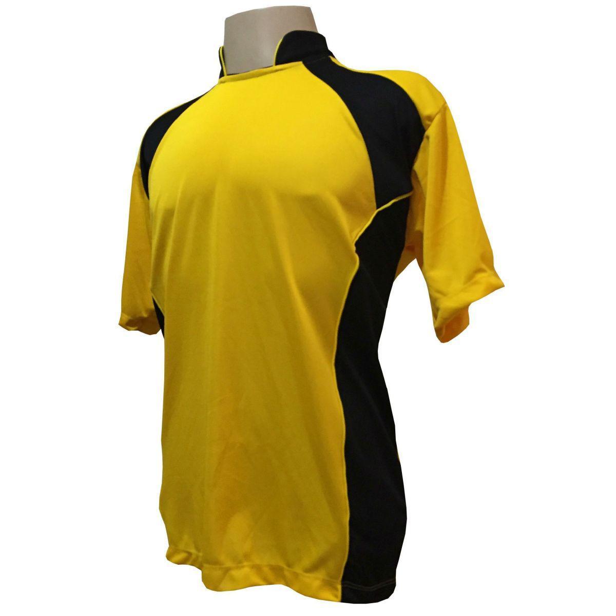 325254c814 Uniforme Esportivo com 14 camisas modelo Suécia Amarelo Preto + 14 calções  modelo Copa + 1 Goleiro + Brindes - Play fair R  639