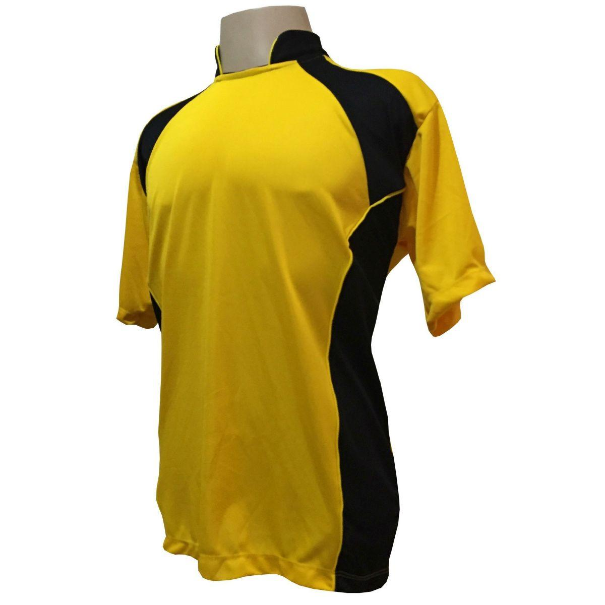917eb58646 Uniforme Esportivo com 14 camisas modelo Suécia Amarelo Preto + 14 calções  modelo Copa Preto Amarelo + 14 pares de meiões Amarelo - Play fair R   699