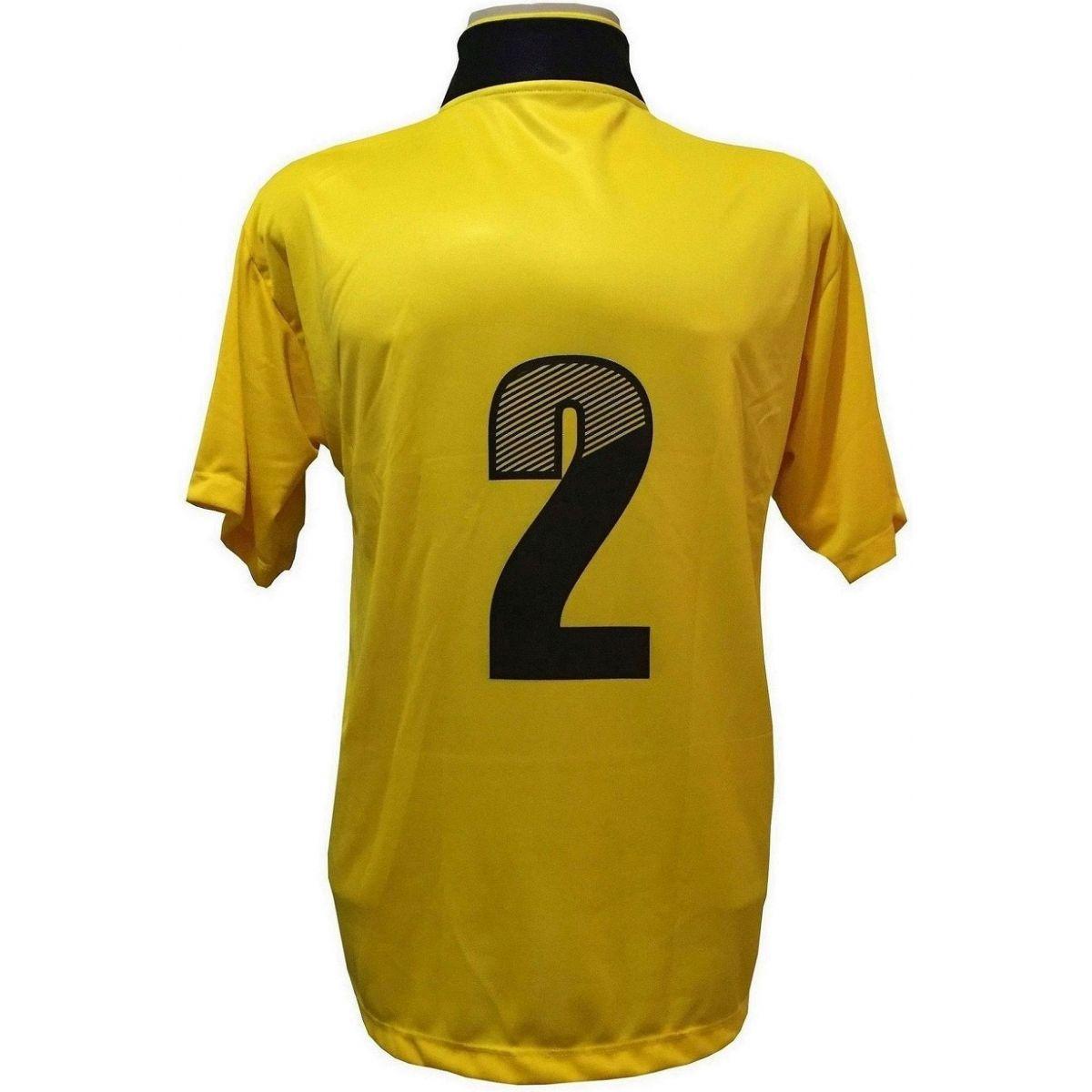 91e6fd5a1d Uniforme Esportivo com 14 camisas modelo Suécia Amarelo Preto + 14 calções  modelo Copa Preto Amarelo + 14 pares de meiões Preto - Play fair - Futebol  ...