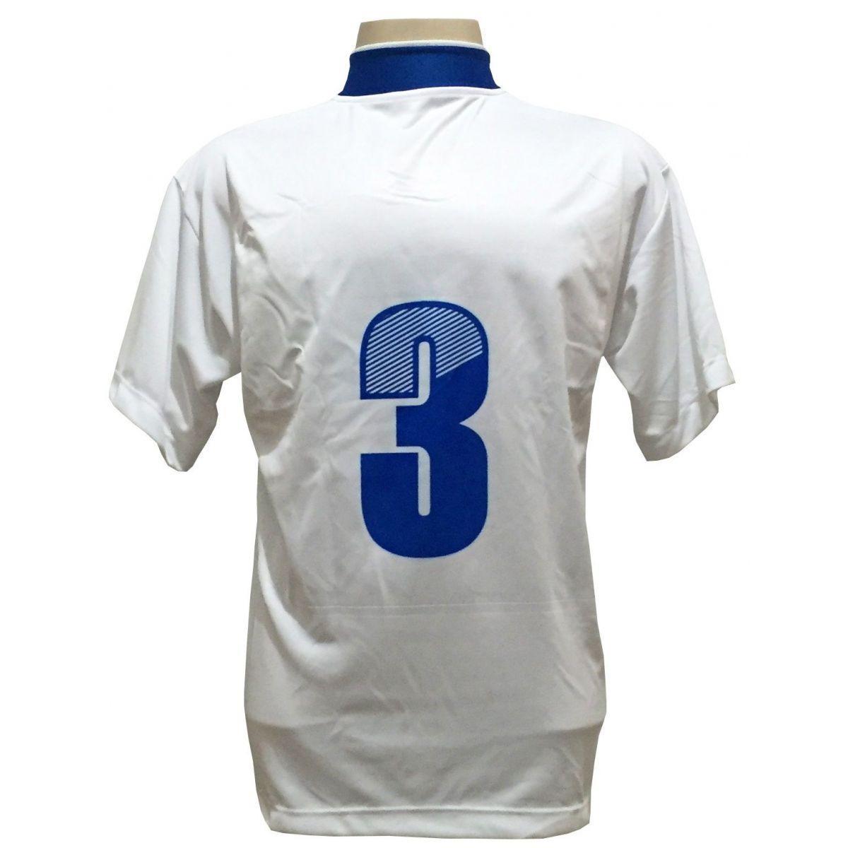 f925dea2ce63d Uniforme Esportivo com 14 camisas modelo Suécia Branco Royal + 14 calções  modelo Copa Royal Branco + 14 pares de meiões Royal - Play fair R  779