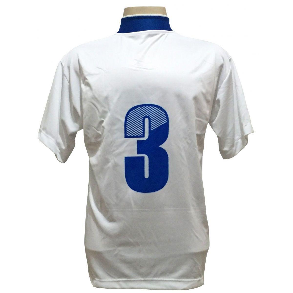 8fa2fe6d1c Uniforme Esportivo com 14 camisas modelo Suécia Branco Royal + 14 calções  modelo Copa Royal Branco + Brindes - Play fair R  569