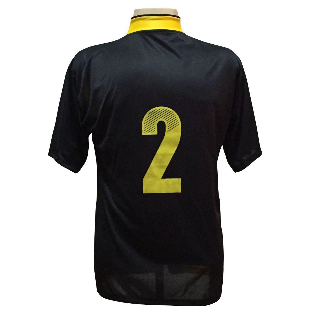 1b9e6b756a Uniforme Esportivo com 14 camisas modelo Suécia Preto Amarelo + 14 calções  modelo Copa + 1 Goleiro + Brindes - Play fair R  639