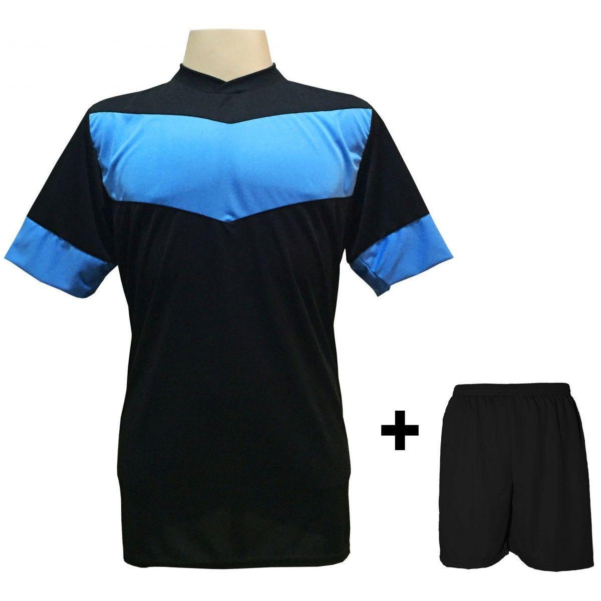34bc51789f0df Uniforme Esportivo com 18 camisas modelo Columbus Preto Celeste + 18  calções modelo Madrid + 1 Goleiro + Brindes - Gazza - Futebol - Magazine  Luiza