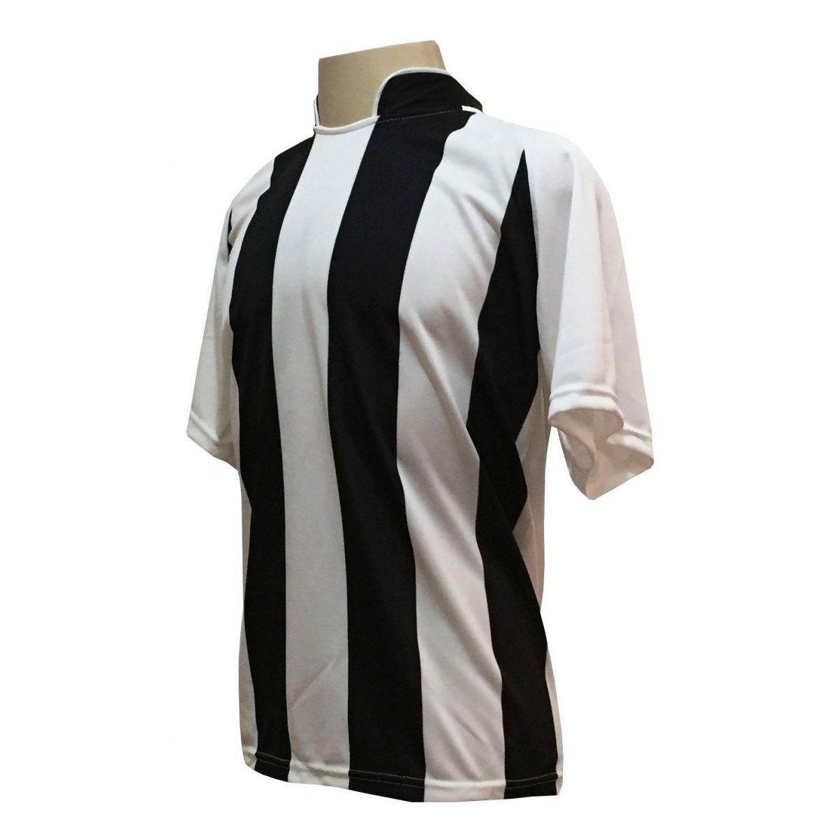 b6ee0f64c6 Uniforme Esportivo com 18 camisas modelo Milan Branco Preto + 18 calções  modelo Madrid + 1 Goleiro + Brindes - Play fair R  789