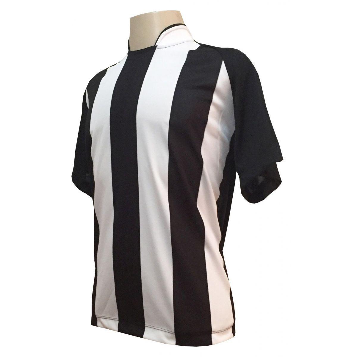 0fb24bcb9549d Uniforme Esportivo com 18 camisas modelo Milan Preto Branco + 18 calções  modelo Madrid + 1 Goleiro + Brindes - Play fair R  789