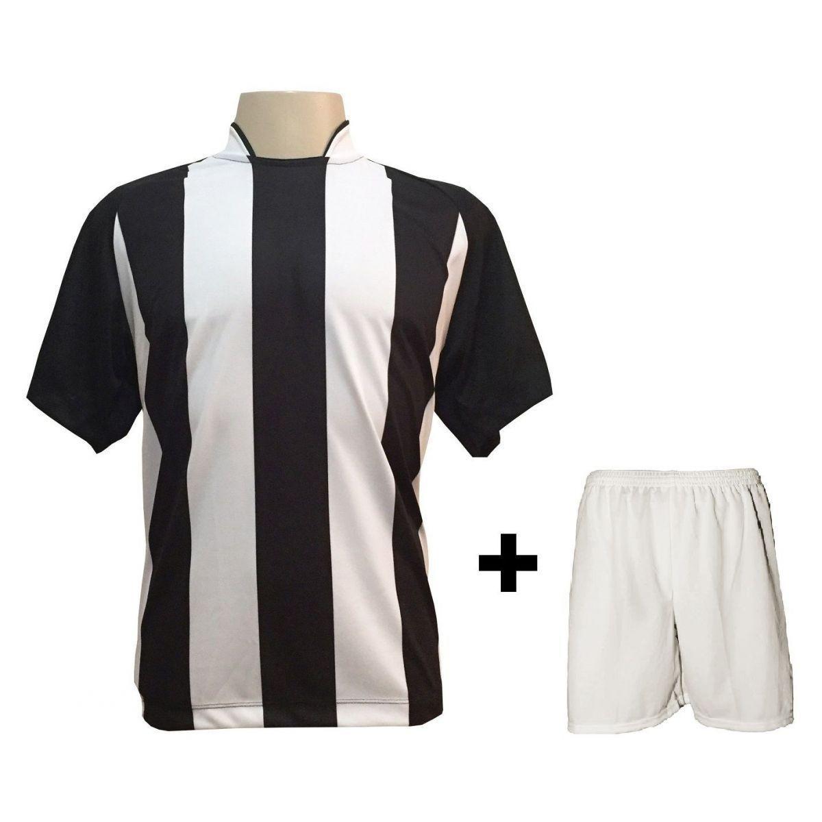 Uniforme Esportivo com 18 camisas modelo Milan Preto Branco + 18 calções  modelo Madrid + 1 Goleiro + Brindes - Play fair - Futebol - Magazine Luiza 0e6c998a5cc39