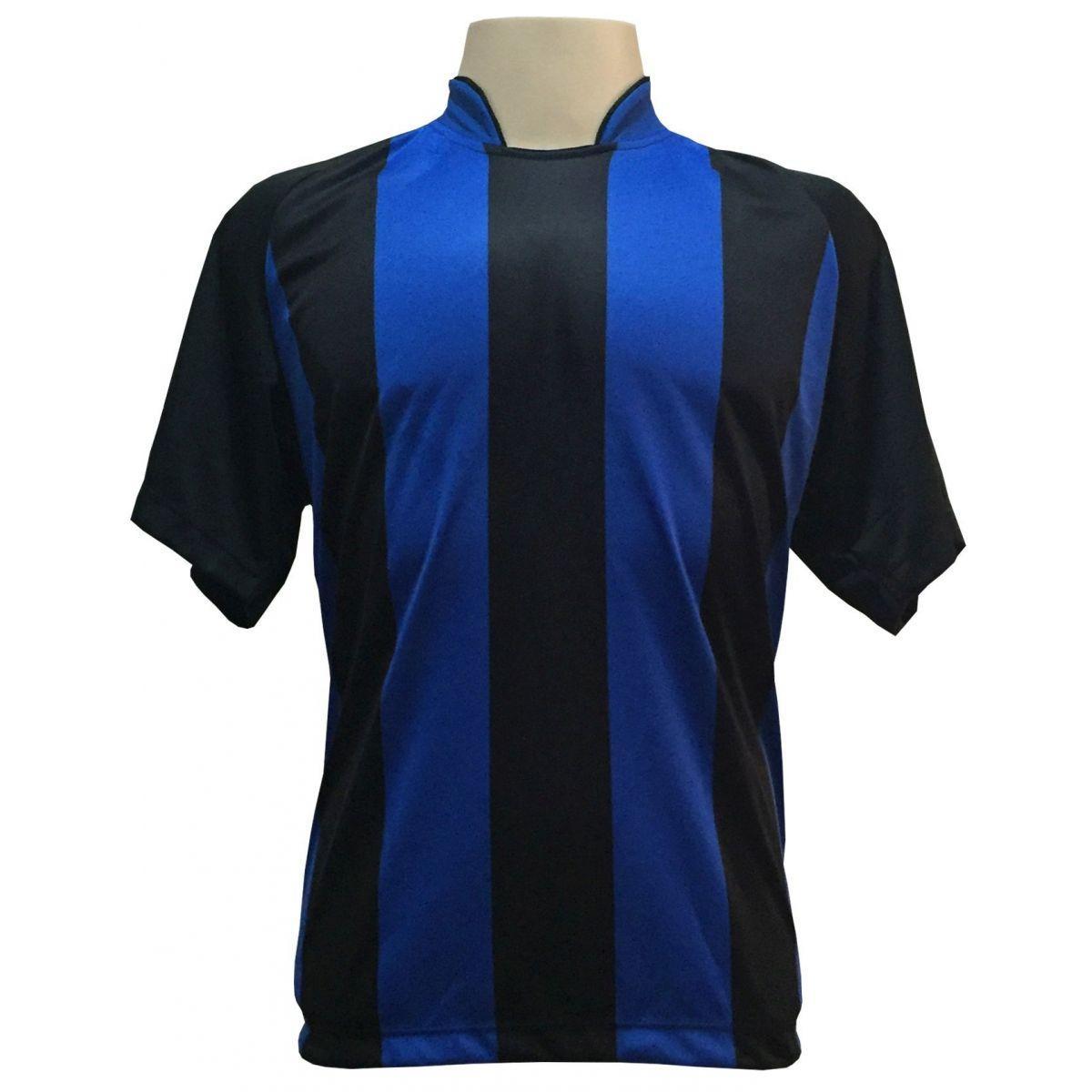 92cb288e92 Uniforme Esportivo com 18 camisas modelo Milan Preto Royal + 18 calções  modelo Madrid Royal + Brindes - Play fair R  709