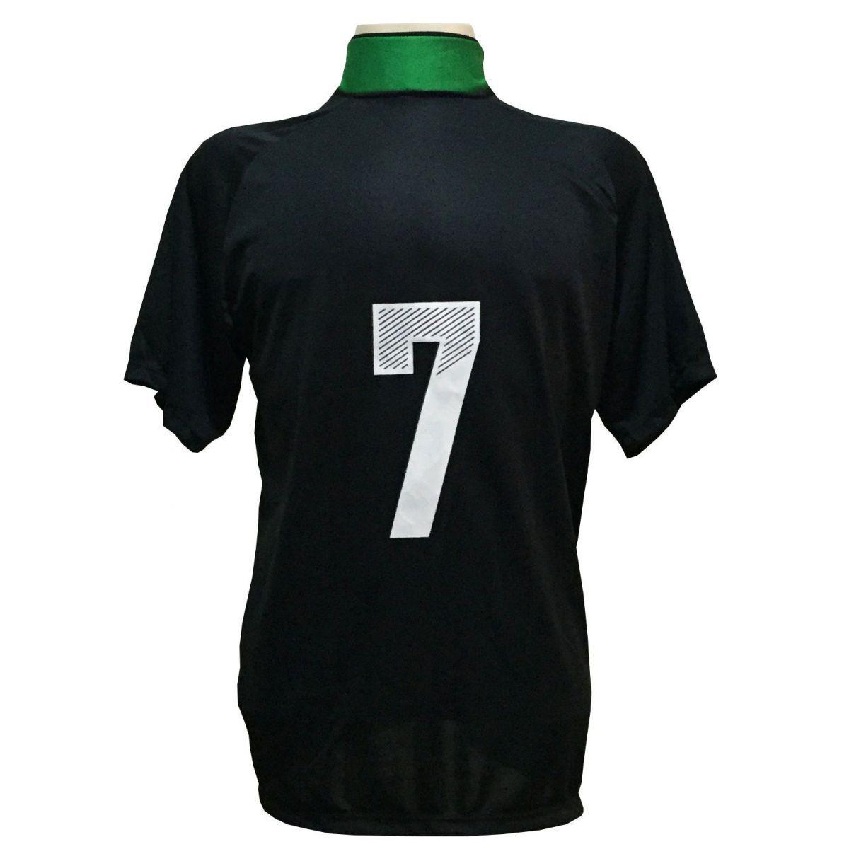 98e086d220c2d Uniforme Esportivo com 18 camisas modelo Milan Preto Verde + 18 calções  modelo Madrid Preto + Brindes - Play fair R  709
