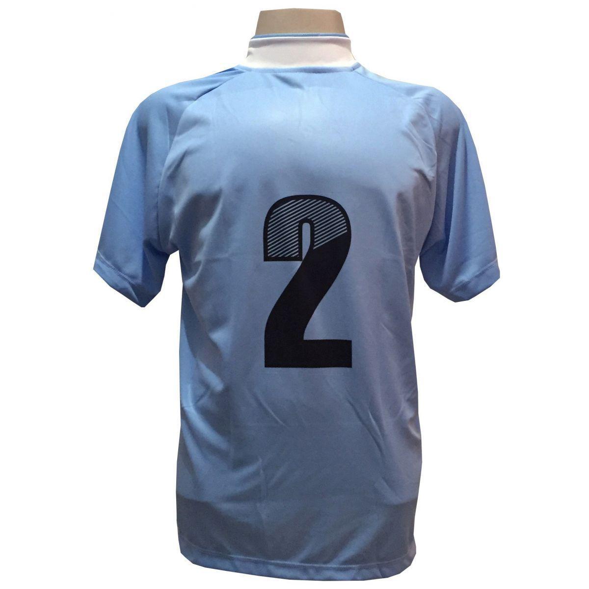 58e626f589 Uniforme Esportivo com 20 camisas modelo Milan Celeste Branco + 20 calções  modelo Madrid + 1 Goleiro + Brindes - Play fair - Futebol - Magazine Luiza