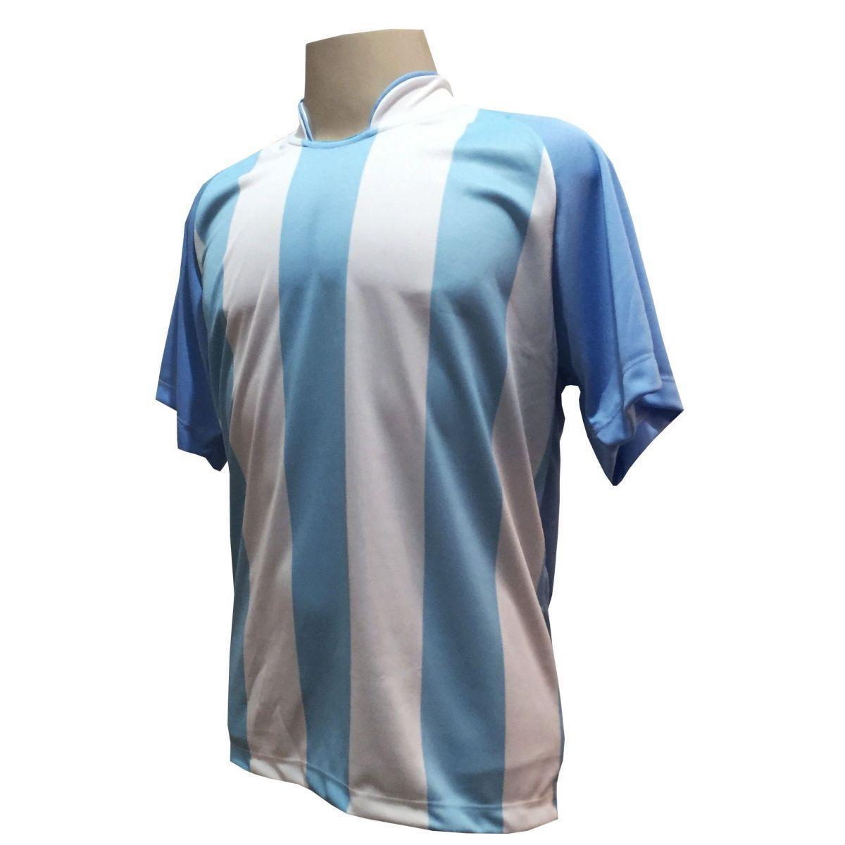 ac698bff92 Uniforme Esportivo com 20 camisas modelo Milan Celeste Branco + 20 calções  modelo Madrid + 1 Goleiro + Brindes - Play fair - Futebol - Magazine Luiza
