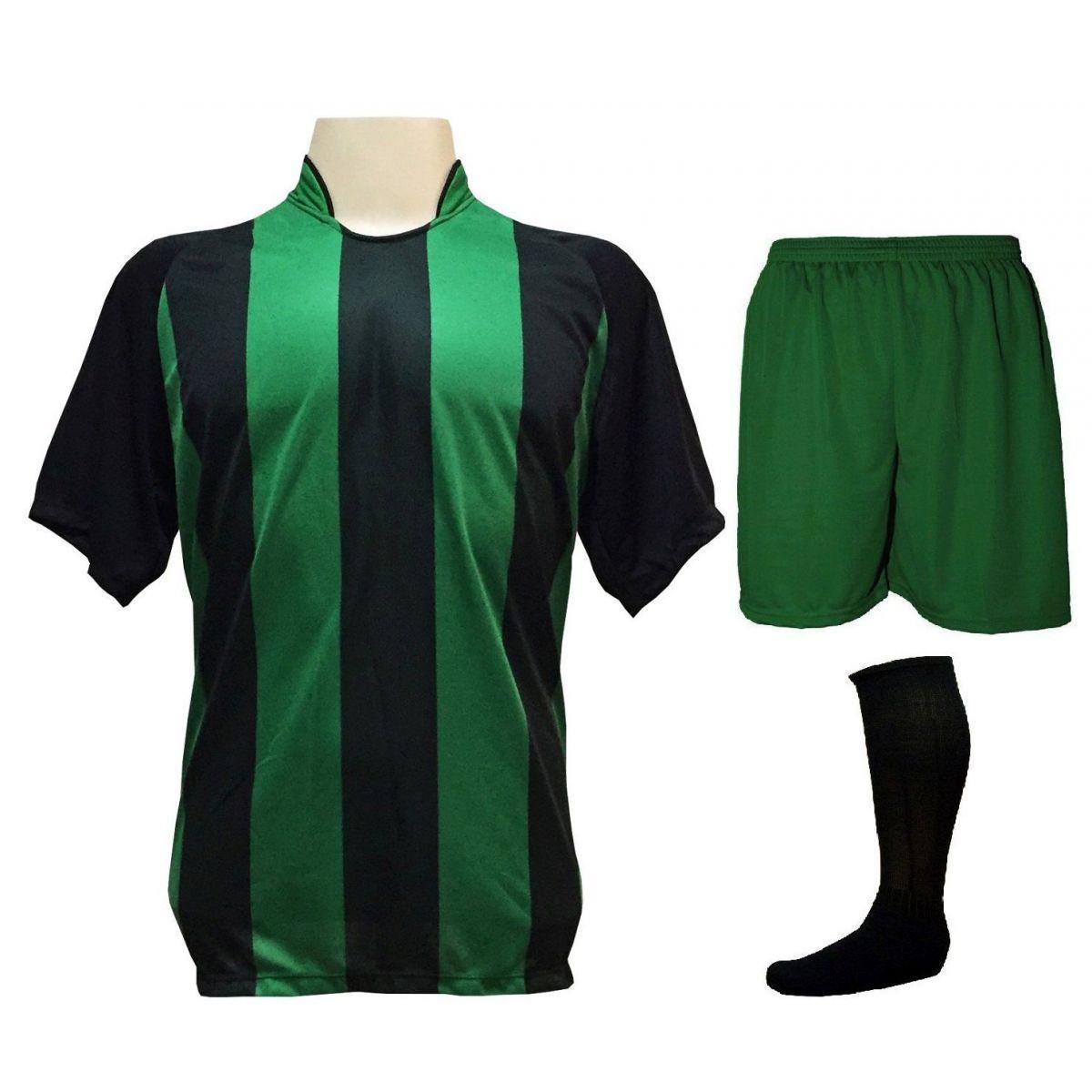 c77798dd02 Uniforme Esportivo com 20 camisas modelo Milan Preto Verde + 20 calções  modelo Madrid Verde + 20 pares de meiões Preto - Play fair R  1.019