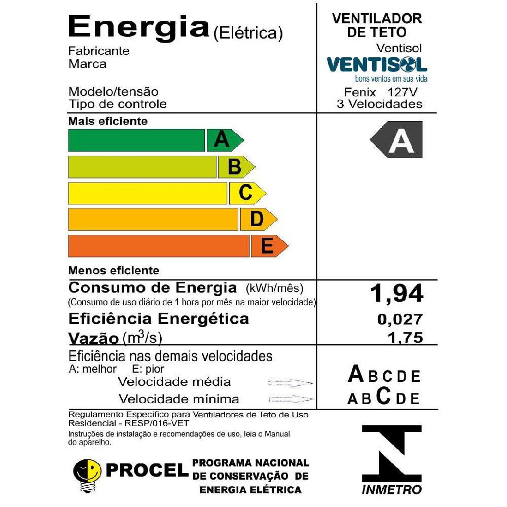 718e51e16 Ventilador de Teto Ventisol Fênix Premium Branco 3 velocidades Controle  Remoto 220V Produto não disponível