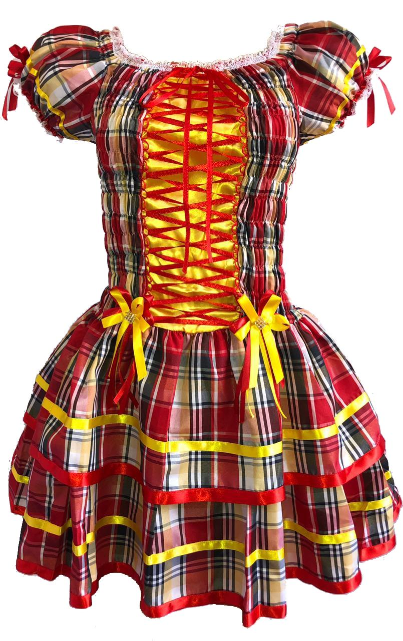 74d575ac4fe64 Vestido de Festa Junina Caipira Plus Size Quadrilha - Moda junina R  169