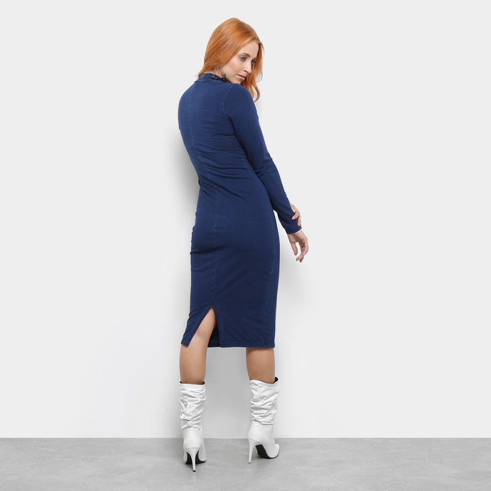 cfac89957ccf Vestido Dimy Midi Manga Longa Jeans R$ 209,99 à vista. Adicionar à sacola