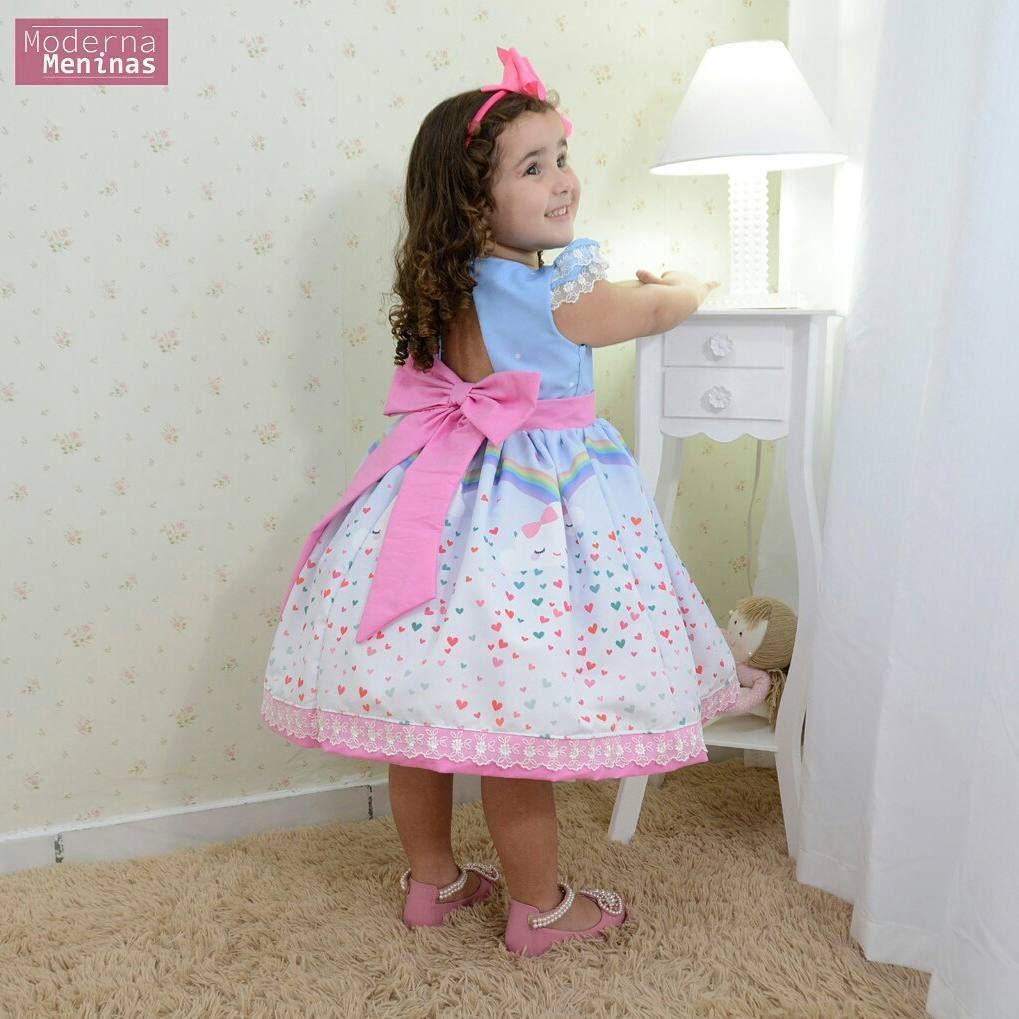 Vestido Festa Infantil Chuva De Amor E Bençãos Moderna Meninas
