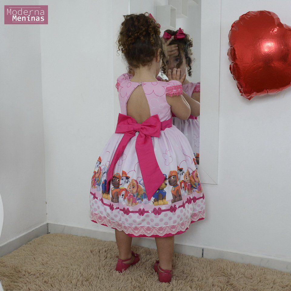 Vestido Festa Infantil Da Patrulha Canina Rosa Moderna Meninas
