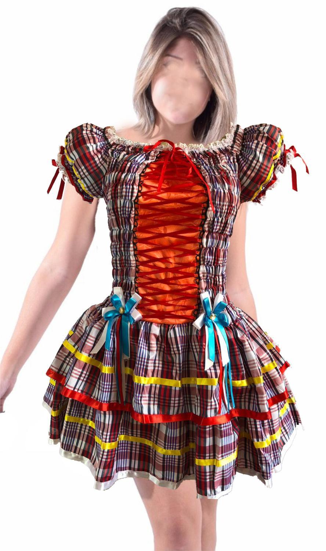 Vestido Festa Junina Luxo Adulto Branco Vermelho Azul - Moda junina R   149 7c69360ddce