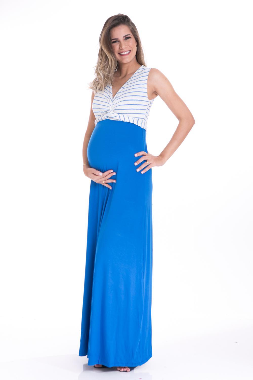 Vestido Gestante Longo Detalhe Giverny Azul A Gestante