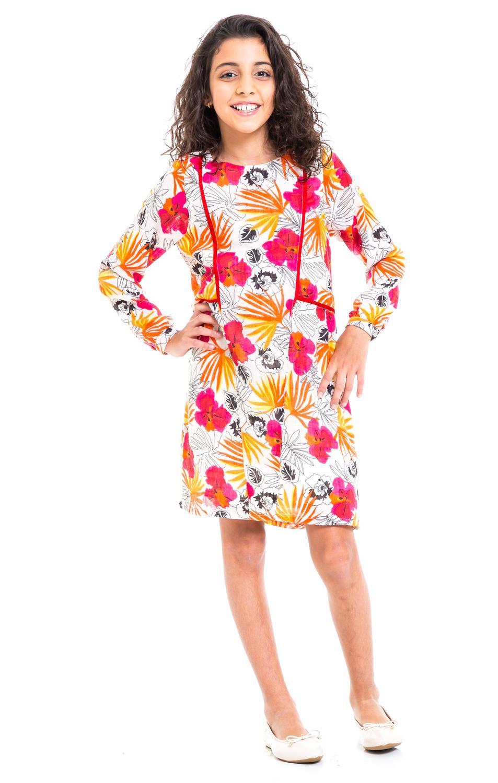 Vestido Infantil Menina Floral Laranja Tamanho 12 Casa