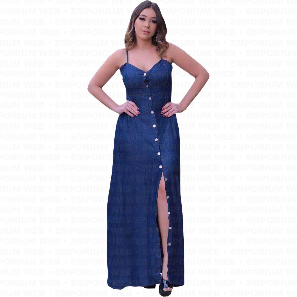 eef71cb5219a Vestido Longo Jeans Alça Regulável e Botões frontal Moda Plus Size (P ao G3)  - Azul Escuro - Ewf R$ 128,99 à vista. Adicionar à sacola