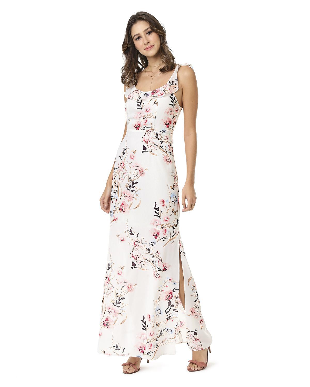 Vestido Longo Seiki Em Crepe Estampada Floral Com Babado No Ombro Branco 380351