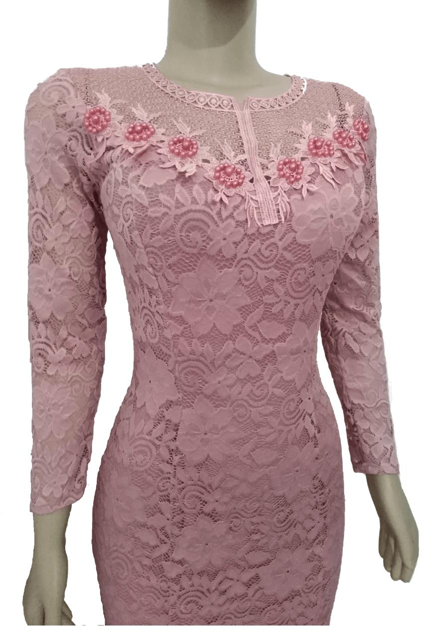 27791d04c3 Vestido Manga Festa Rosa Renda Madrinha Casamento Formatura - Elegance R$  230,00 à vista. Adicionar à sacola