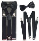 10 Suspensórios e 10 Gravatas Borboletas Tamanho Adulto Cor Preto - Joli monde