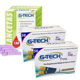 100 Tiras Reagente de Glicose + 100 Lancetas - G-tech