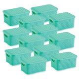 12 Caixas Organizadoras Rattan Pequena Verde 20x25,5x11 cm - Nitron
