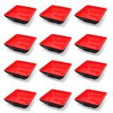 12 Mini Tigelas Quadradas Molheira para Shoyu em Melamina Vermelha  Wincy