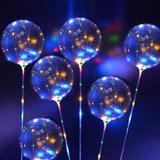 15 Balões Bubble Transparente Com Led Vareta e Pilha Decorativos Festa Aniversario - Imp