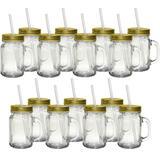 15 Caneca de Vidro Mimo Style Retrô com Canudo Tampa Dourada