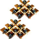 2 Adegas Art Madeira tipo Colmeia para 8 Vinhos Chão Mesa Marrom - Arte em madeira