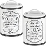 2 Lata Coffee Sugar Porta Café Açúcar Pote Retrô Vintage b/b - Bella tavola