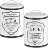 2 Lata Tea Coffee Porta Chá Café Pote Retrô Vintage Br/Pr - Bella tavola