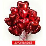 20 Balão Coração Metalizado Vermelho 45 Cm Festa Decoração - Kriat