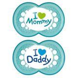 2933 - Chupeta Mom  Dad Tamanho 2 6m+ Azul Mam