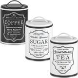 3 Lata Coffee Sugar Tea Porta Café Açúcar Chá Pote Retrô Pbb - Bella tavola