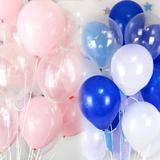 30un. Balões 10 Polegadas Azul, Rosa, Transparente E Branco - Neoimp