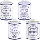 4 Lata Coffee Sugar Tea Biscuits Porta Vintage Pote Retrô Az - Bella tavola