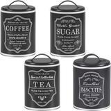 4 Lata Coffee Sugar Tea Biscuits Porta Vintage Pote Retrô Pr - Bella tavola